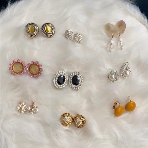 Vintage 9 pairs of Clip On Earrings
